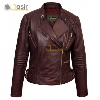 Ladies burgundy leather biker jacket