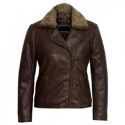 Ladies leather flying jacket Brown