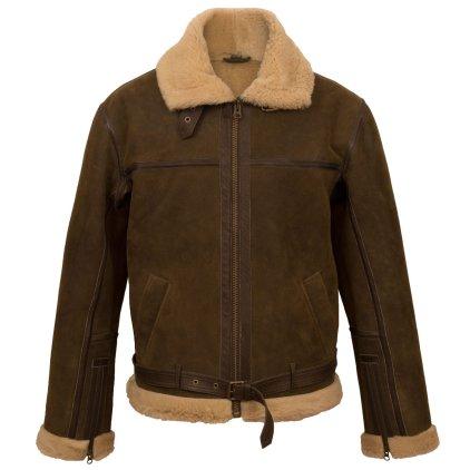 Men Fur Collar Leather Goat Skin