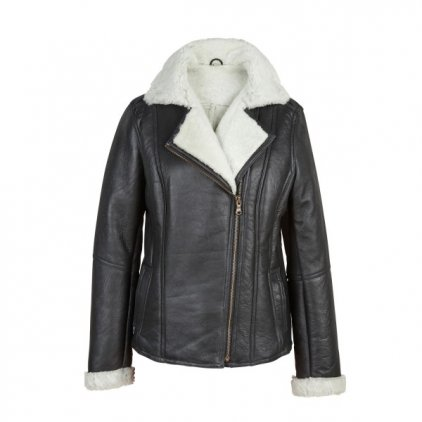 Women's Black/Cream Sheepskin Flying Jacket