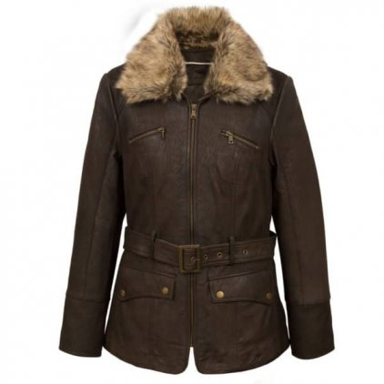 Womens Leather Coat Brown
