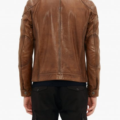 Gangster Brown Bomber Leather Jacket