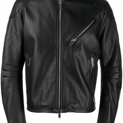 Tracker Black Bomber Leather Jacket