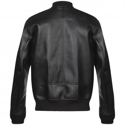 Straight Black Bomber Leather Jacket
