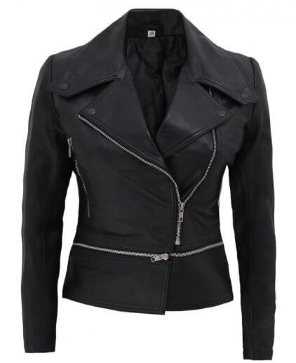 Alabama Women's Black Leather Biker Jacket