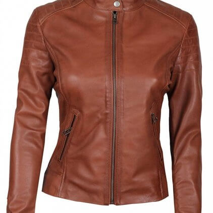 Carrie Women's Brown Leather Biker Jacket
