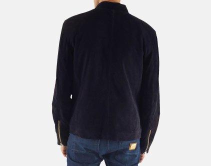 Charcoal Navy Blue Suede Blouson Jacket