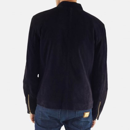 Charcoal Navy Blue Suede Blouson Jacket