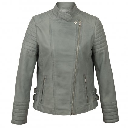 Emma Light Grey Leather Biker Jacket