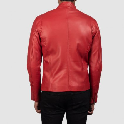 Ionic Red Leather Biker Jacket