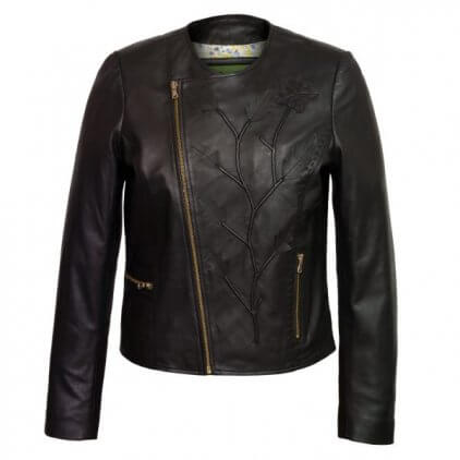 Alia Women's Black Leather Biker Jacket