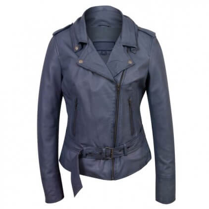 Women's Light Blue Leather Biker Jacket