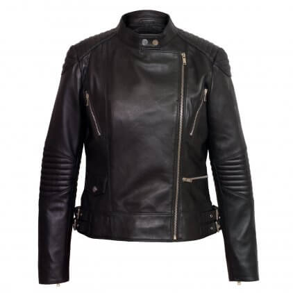 Jue Women's Black Leather Biker Jacket