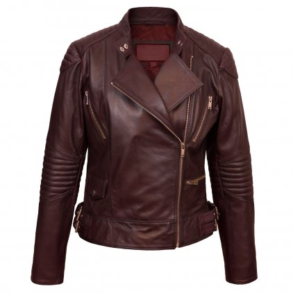 Wendy Maroon Leather Biker Jacket
