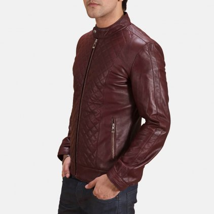 Dee Maroon Leather Biker Jacket