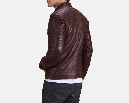 Urbane Maroon Leather Biker Jacket