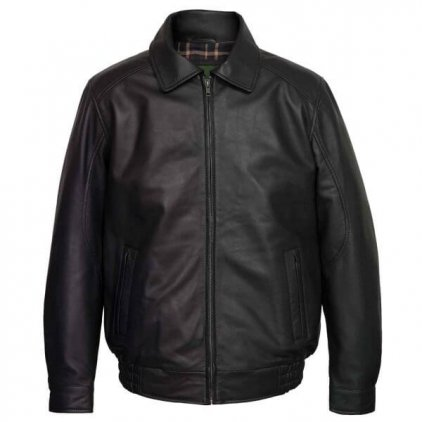 Men Black Leather Bomber Jacket