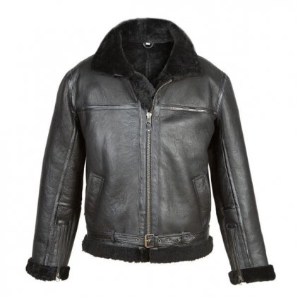 Men's Black Shearling Sheepskin Flying Jacket