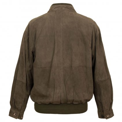 Men's Brown Button Suede Blouson Jacket
