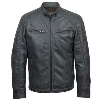 Men Grey Leather Jacket