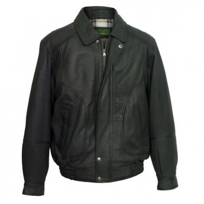 Men Grey Leather Blouson Jacket