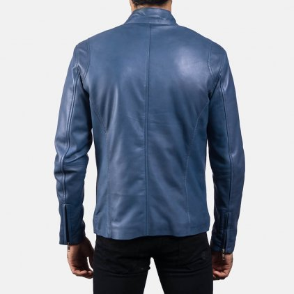 Ionic Blue Leather Biker Jacket