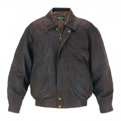 Men Brown Leather Blouson Jacket