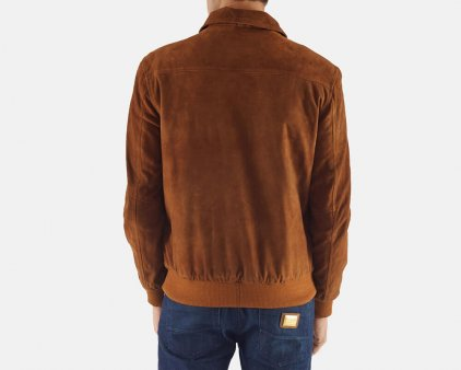 Tan Brown Suede Bomber Jacket