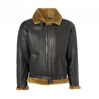 Mens leather sheepskin flying jacket Brown