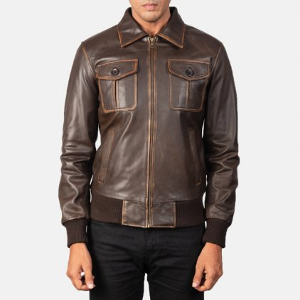 Aaron Brown Leather Bomber Jacket