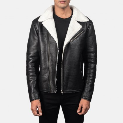 Albert Shearling Black Leather Jacket