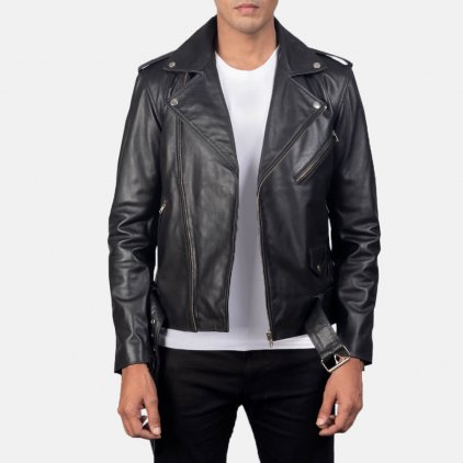 Alley Black Leather Biker Jacket