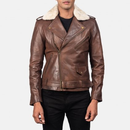 Furton Brown Leather Biker Jacket