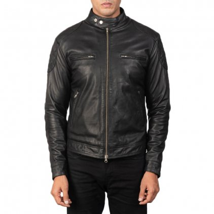 Gats Black Leather Biker Jacket