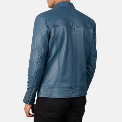 Mack Blue Leather Biker Jacket