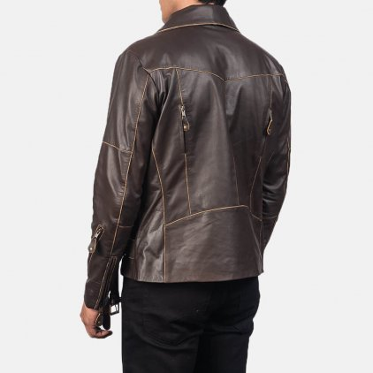 Vincent Brown Leather Biker Jacket