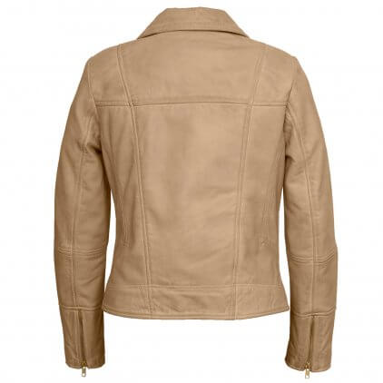 Women's Sand Leather Biker Jacket