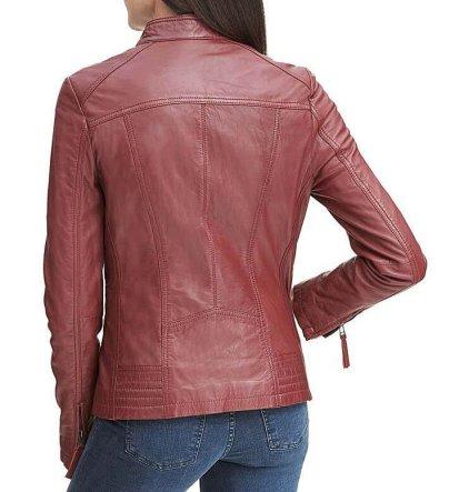 Rosey Women's Red Leather Biker Jacket