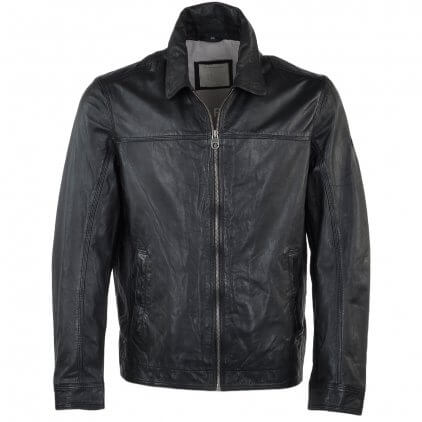 Gamy Men's Black Blouson Leather Jacket