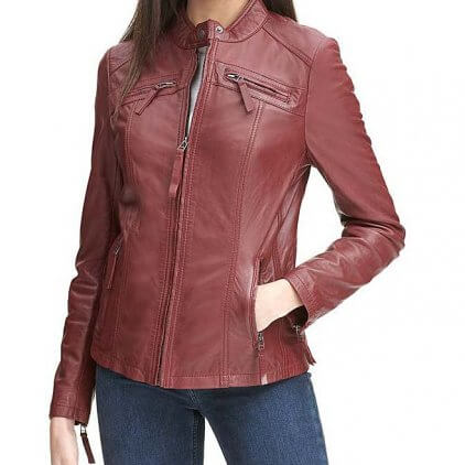 Rosey Women's Red Leather Biker Jacket