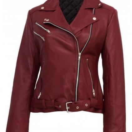 Roney Women's Red Leather Biker Jacket