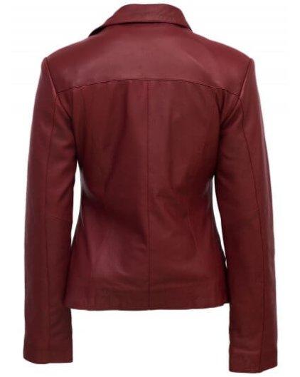 Roney Women's Red Leather Biker Jacket