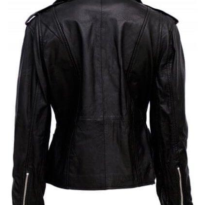 Endy Women's Black Leather Biker Jacket