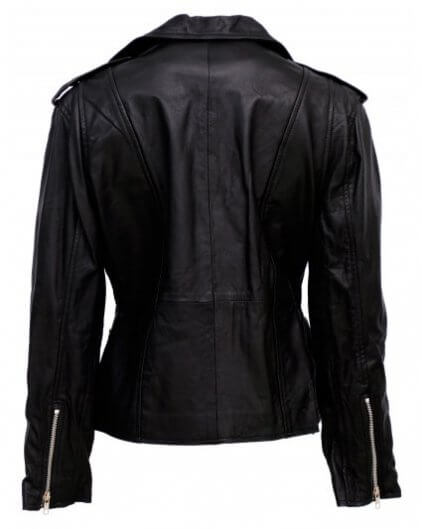 Endy Women's Black Leather Biker Jacket