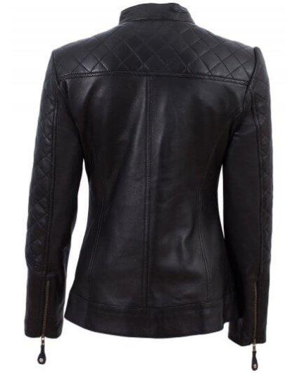 Gmme Women's Black Leather Biker Jacket