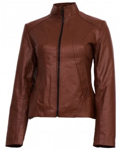 Tan Women's Brown Leather Biker Jacket