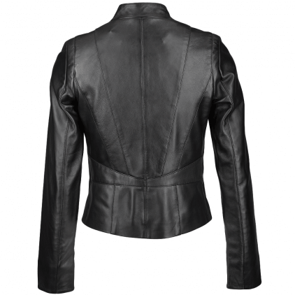 Tanned Women's Black Vintage Leather Jacket