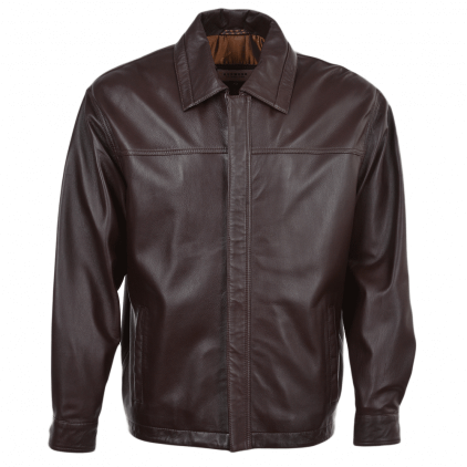 Maney Men's Brown Blouson Leather Jacket