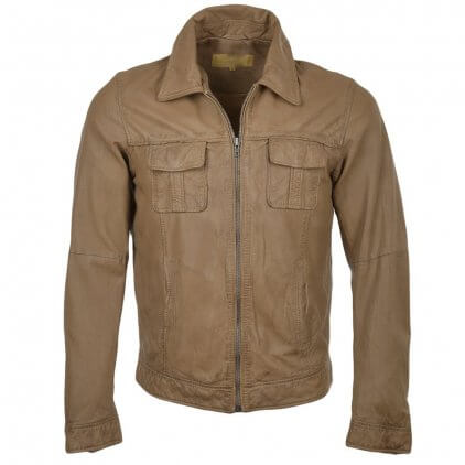 Many Men's Camel Blouson Leather Jacket