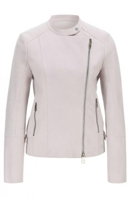 Rosey Women's White Leather Biker Jacket